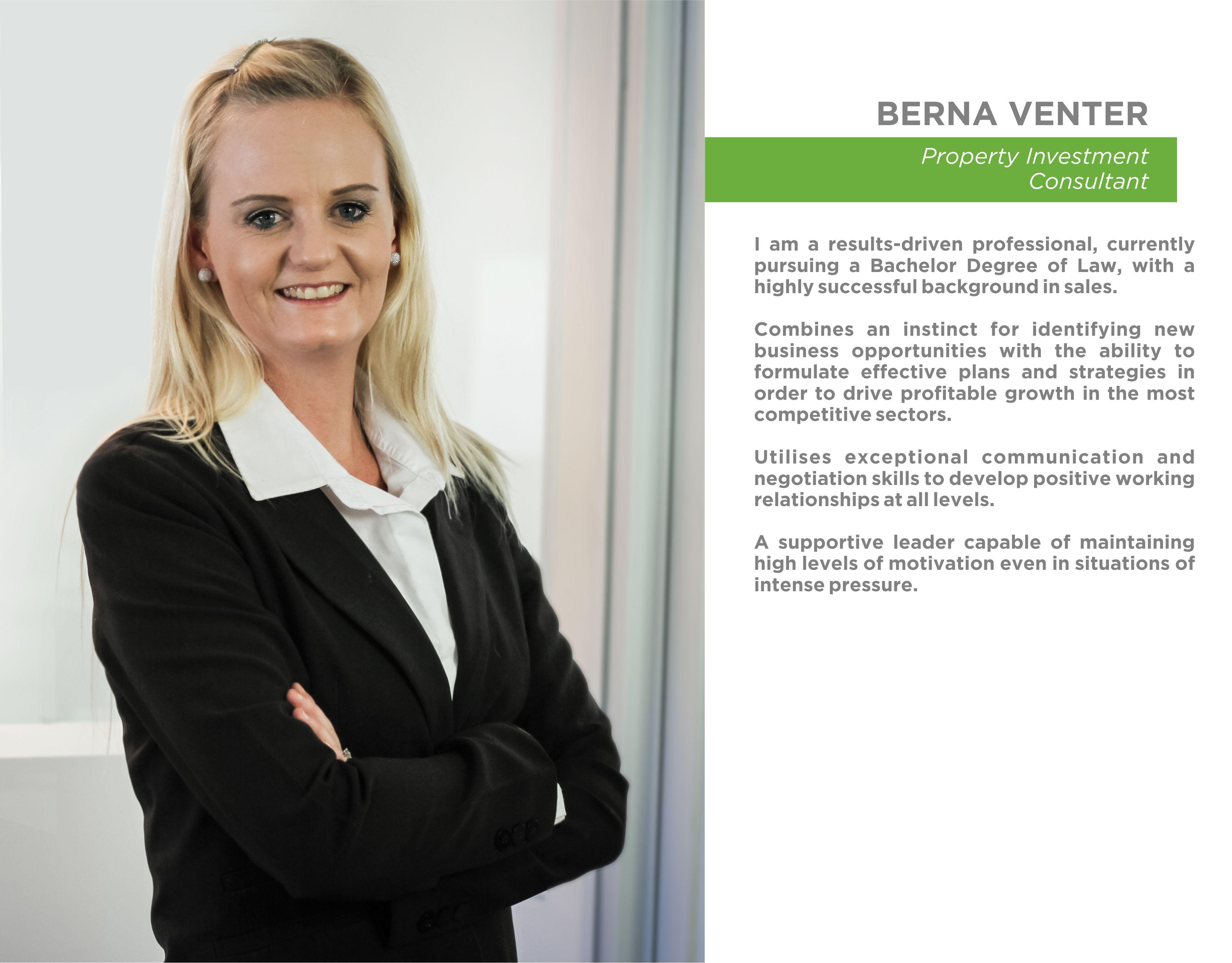 NEW STAFF BIO - Berna Venter
